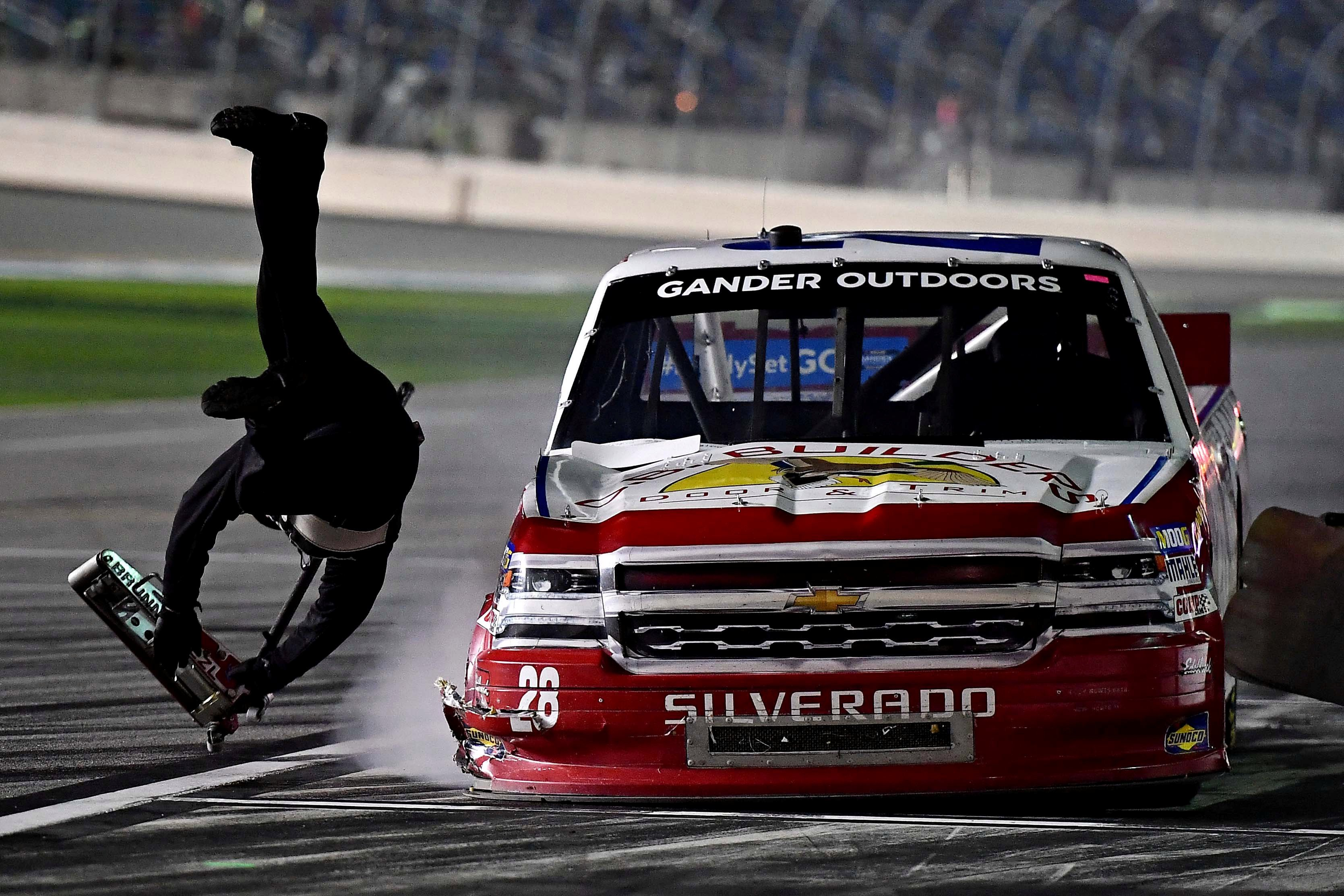 Pit man miraculously escapes serious injury after NASCAR driver crashes into member of his own team and sends – The Sun