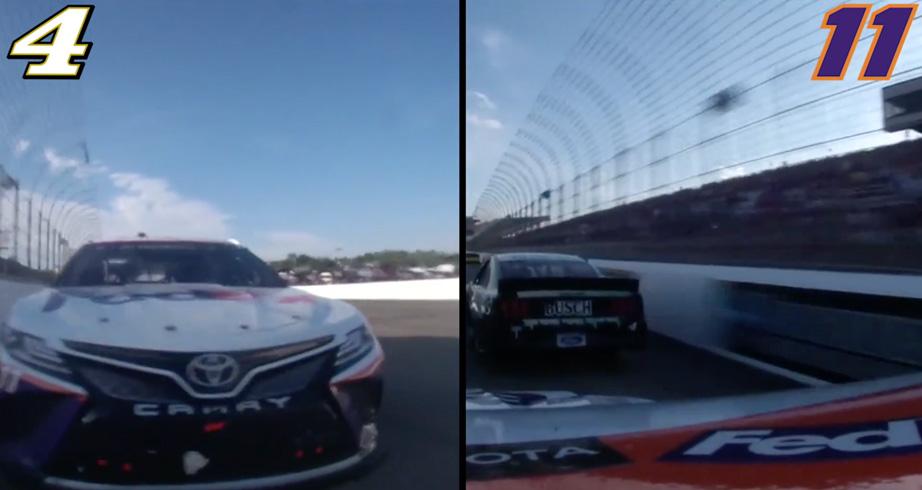 Side-by-side in-car of last lap between Hamlin, Harvick – NASCAR