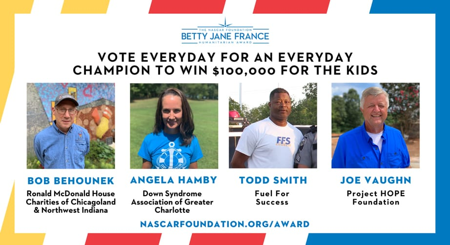 Finalists announced for The NASCAR Foundation's 9th annual Betty Jane France Humanitarian Award – NASCAR